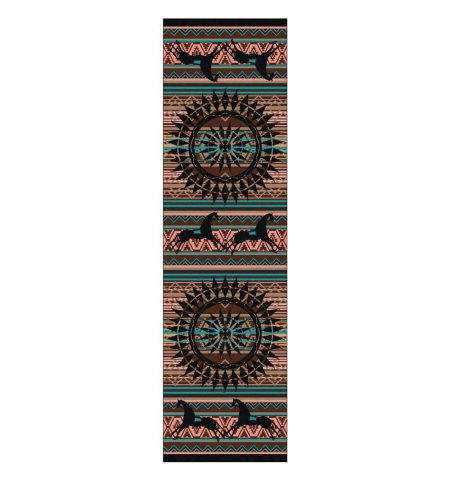 Southwest runner rug with turquoise and pink stripes and native prints