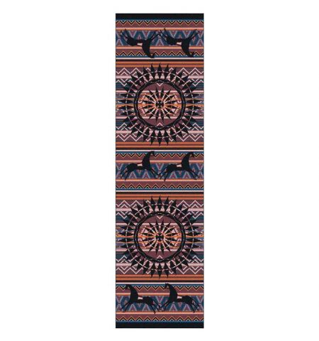 Runner rug with horses and Southwestern designs on a purple stripe background