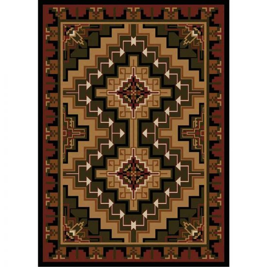 Rug with a geometric design in brown, red, and green