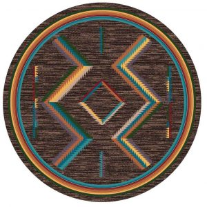 Brown round area rug with multicolor Southwest print