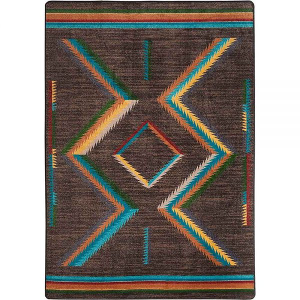 Rug on rainbow colored southwestern pattern on a brown background