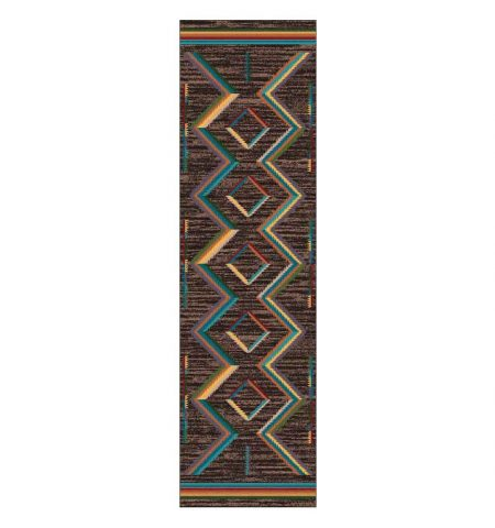 Runner rug with a Southwest design in bright yellow, orange, and green