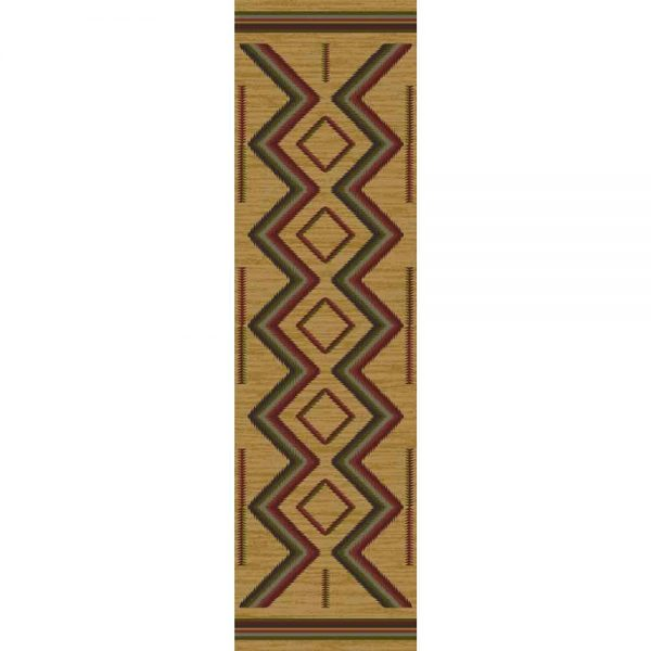 2x8 tan area rug with Native American motifs in red and green