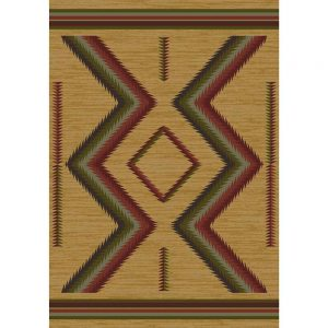 Tan area rug with a Southwestern pattern in red and gren