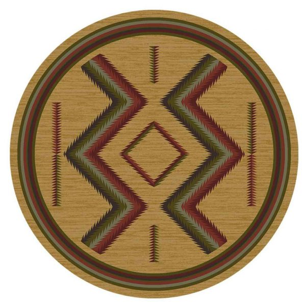 Tan area rug with red and green Southwest graphic motifs