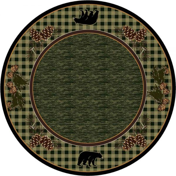 Round area rug with green background and plaid border with bear and pine cone print