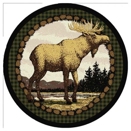 Detailed moose print rustic round area rug