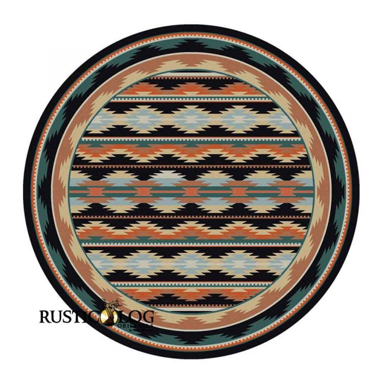 Round area rug with a Southwest print in orange, turquoise, and black