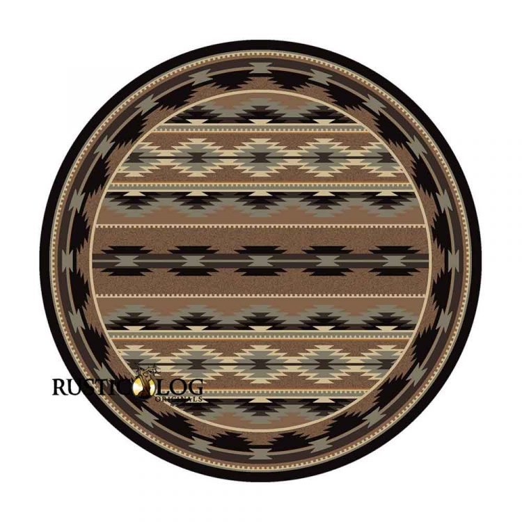 Round rug with a Southwestern print in multi-shades of brown