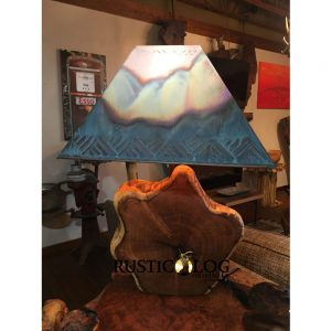 Rustic Lamp with Mesquite Base And Copper Shade