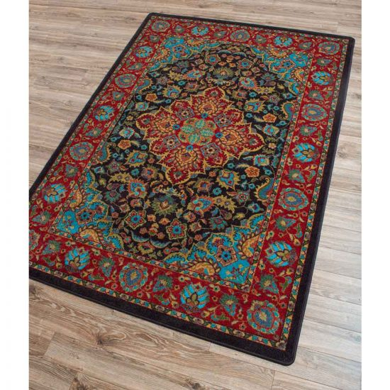 Bright red and turquoise oriental area rug