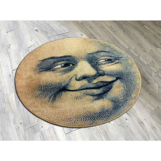 Round rug with moon print on hardwood floor