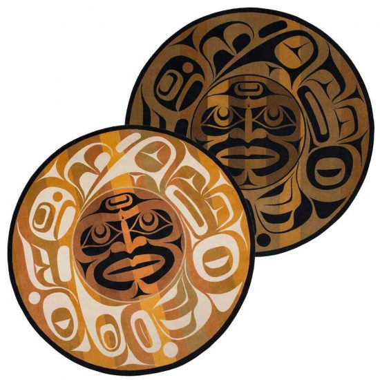 Area rug Native American mask design