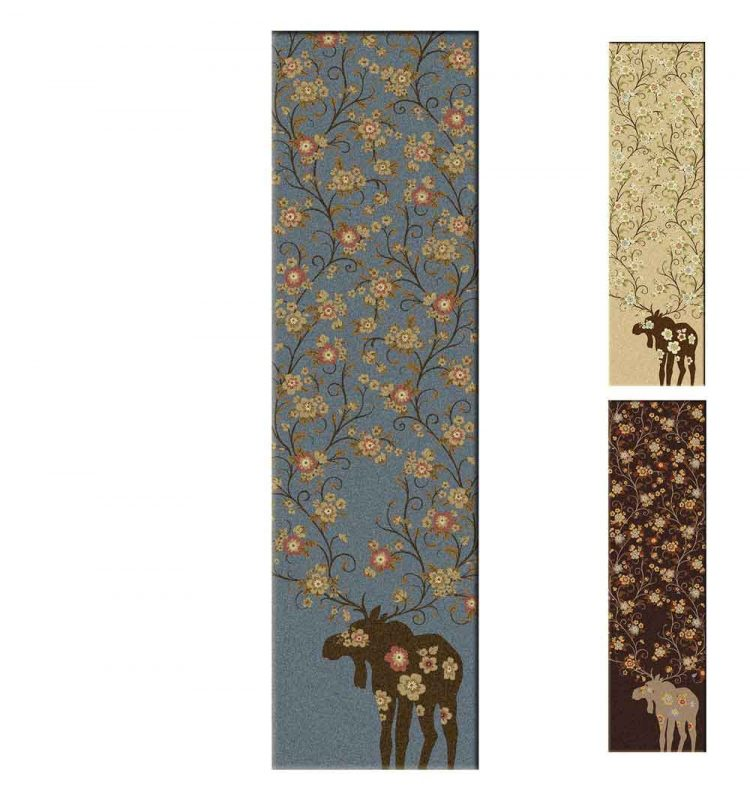 Runner rugs in blue, tan and chocolate with a moose and floral print