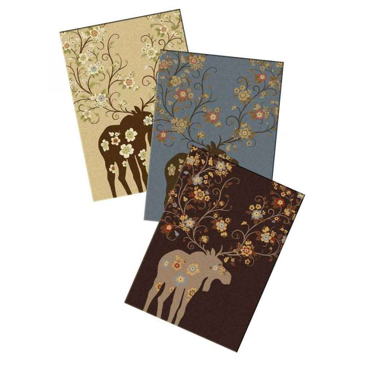 Cabin rug with a print that mixes moose and flowers available in chocolate, blue, and natural
