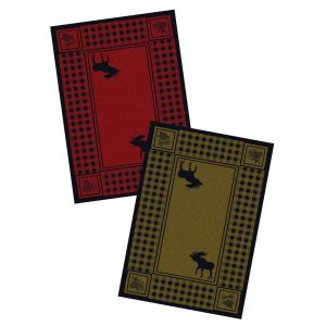 Moose design and plaid cabin rug in red or green