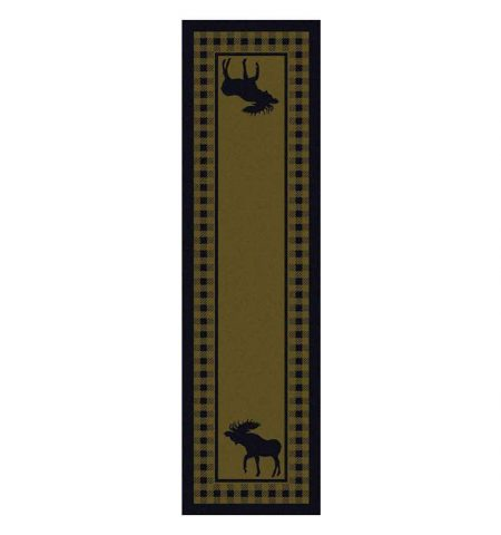 Green Cabin themed runner with moose and plaid print
