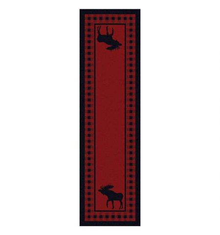 Red rug with a plaid border and moose print