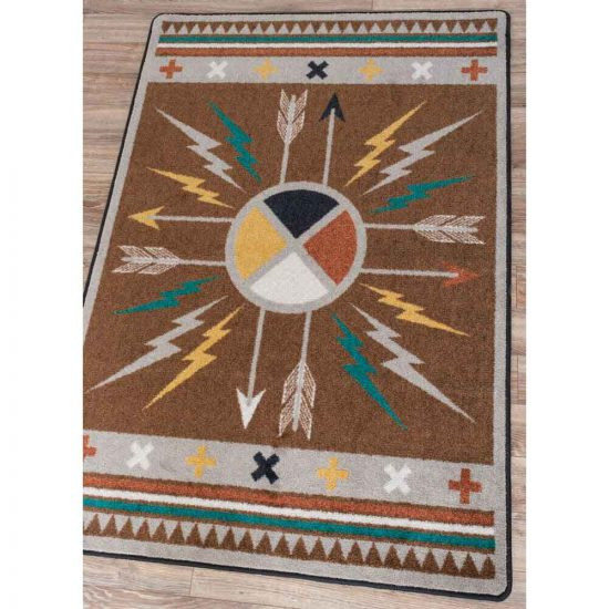 Arrows and lightning bolts print brown Southwest rug
