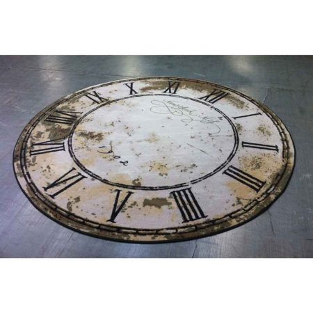 Vintage Clock Round Rug