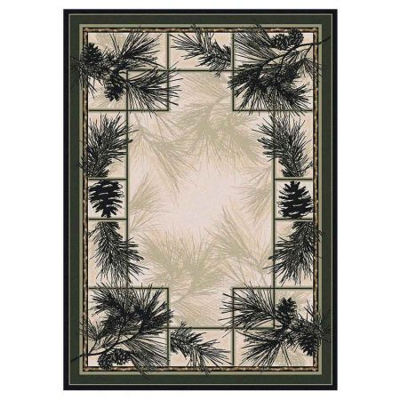 Area rug in shades of forest green and natural background with detailed pine branches print