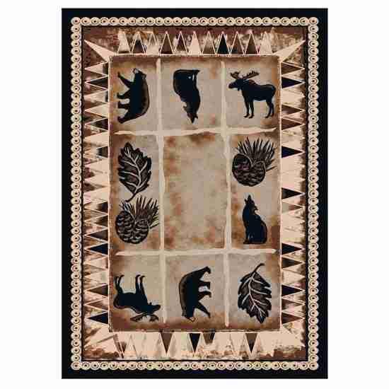 Rustic cabin prints rug in brown