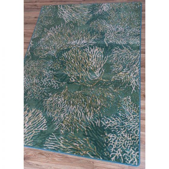 Coral blooms on aqua background rug pattern