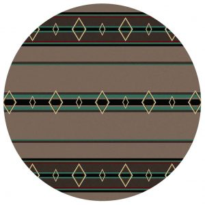 Turquoise and brown Southwestern round area rug