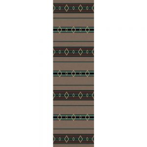 Southwestern runner rug with a taupe background and brown and turquoise