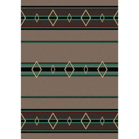 Rug in taupe and turquoise details with stripes and lozenge print