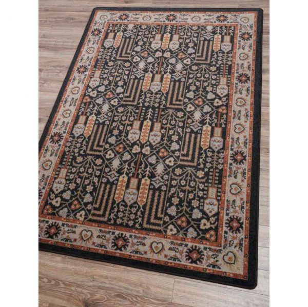 Area rug with a Persian design in brown and black