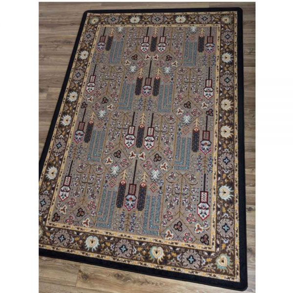 Oriental nylon rug in turquoise, black, and beige