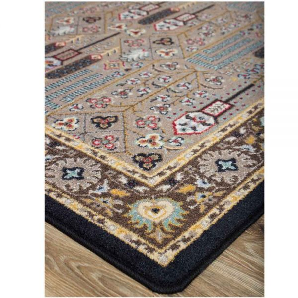 Oriental print area rug in turquoise, beige and red accents