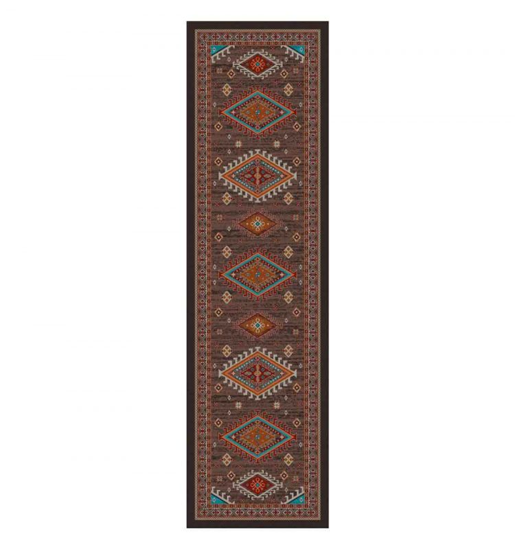 Runner rug with a brown background and red and turquoise Southwestern and Persian prints