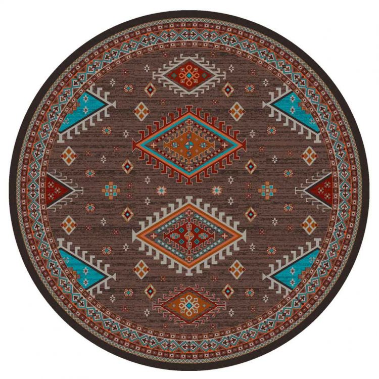 Round rug with red and turquoise prints inspired by Southwest and Persian rug patterns