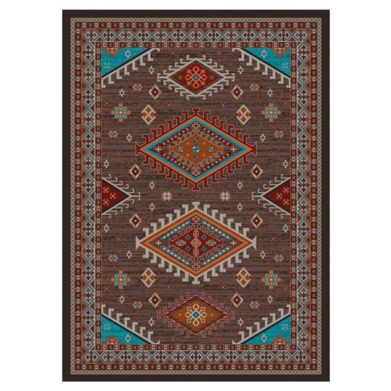 Turquoise, red, and brown rug with a blend of Oriental and Southwestern designs