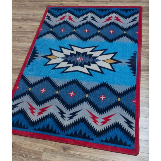Graphic blue, red, and black Nylon area rug
