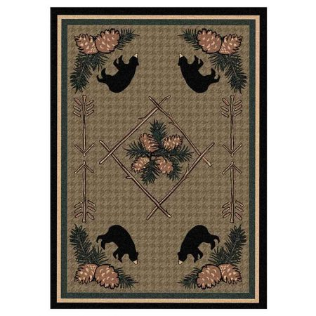 Green area rug with a houndstooth background and bears and pine cone print