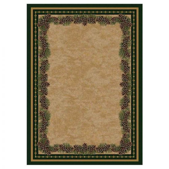 Tan area rug with pine cone border