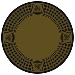 Round area rug with a green background and a plaid and pine cone border