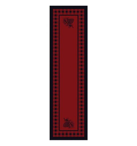 Red area rug in 2x8 runner with plaid and pine cone designs
