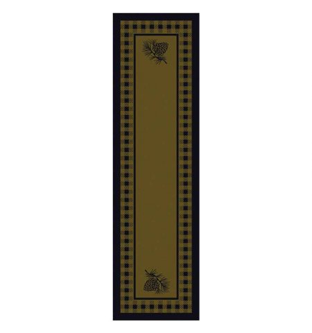 Runner rug with plaid and pine cones design in green