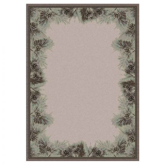 Tan rug with pine cones and needles print along the border