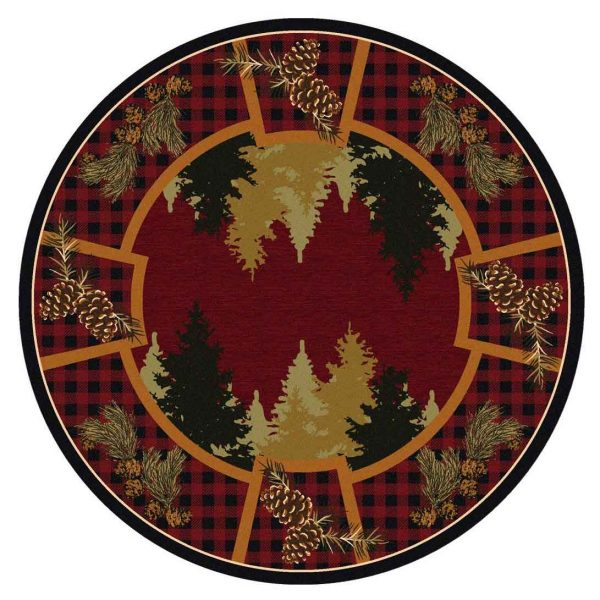 Round area Nylon rug with red plaid and pine tree design