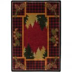 Red plaid and pine rustic print rug