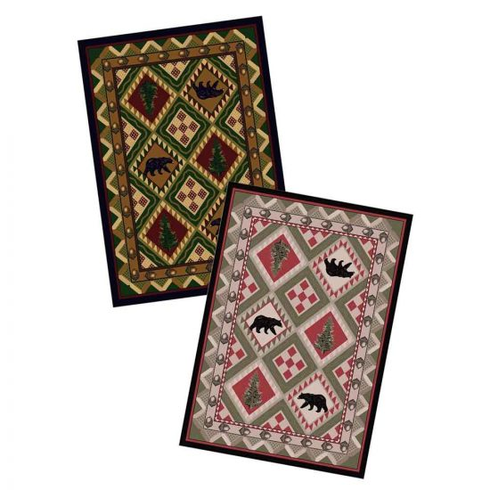 Cabin rug with bears and pine tree print available in pink and green