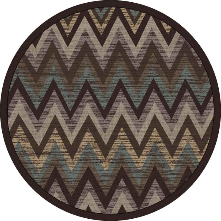 Flame stitch print rug in cool earth shades