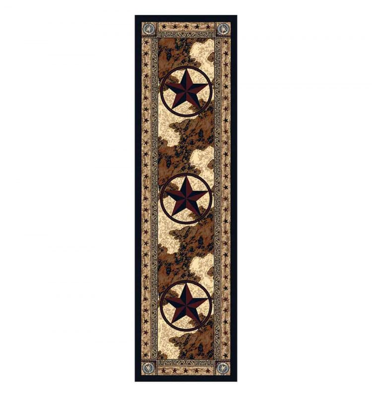 2x8 runner rug with a cowhide background and star print