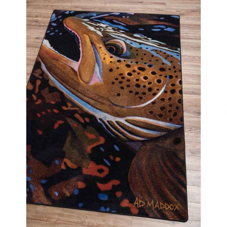 Detailed trout pattern area rug