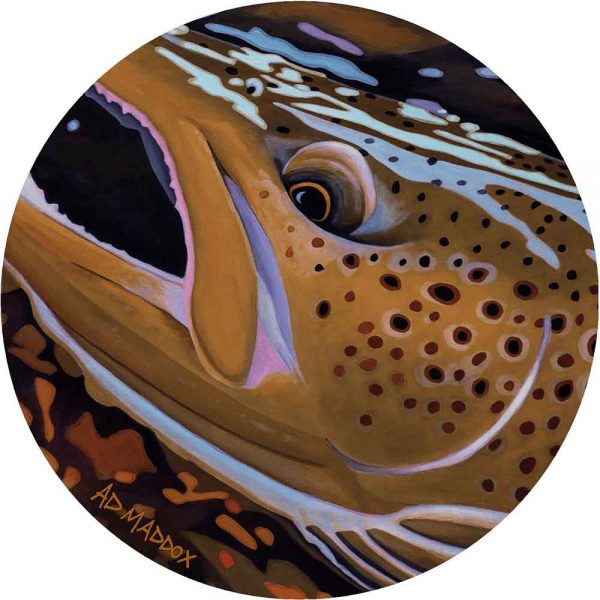 Round rug with trout print based on painting by Ad Maddox